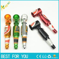 Wholesale big beer bottles - Creative Smoking Accessories Mini Smoke Pipe Metal Smoking Pipe Small Popular Beer bottles pattern Big and Small size Pipe new