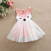 ingrosso volpe calda cartoon ragazza-Hot Summer Europa Fashion Girls Cartoon Fox Dress Bambini senza maniche in cotone Tulle Lace Vest Dress Bambini Principessa Dress Casual Pink Green