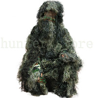 black coveralls - Forest Design Camouflage Ghillie Suit Grass Type Jungle Hunting Birding Woodland Sniper D Bionic Camo Suit Outdoor Coveralls
