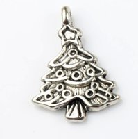 Wholesale Bead Star Christmas - Star Christmas Tree Charm Bead 100pcs lot 17.4x24.2mm Tibetan Silver Pendants Fashion Jewelry DIY Fit Bracelets Necklace Earrings L743