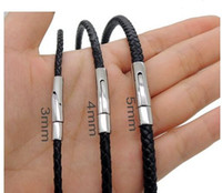 Wholesale 3mm mm mm Plain or Braided Black Genuine Leather Cord Necklace With L Stainless Steel Spring Mechanical Clasp inches
