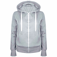 Wholesale Ladies Xl Zip Up Hoodies - 2016 Ladies Women Men Unisex Plain Zip Up Hooded Fleece Warm Sweatshirt Coat Zipper Jacket Top Overcoat Outerwear Hoodies Tracksuit# 81745