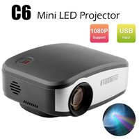 Projector LED HD 1080p LCD C6 Mini projetores portáteis 1200 Lumens Home Theater para Reunião Ensino KTV HDMI / USB / VGA / AV / TV Media Player