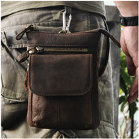 Wholesale Small Belt Bags - Crazy horse leather man fanny pack small waist bag with a long shoulder belt good outdoor fashion accessory factory sales
