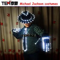 Wholesale Michael Jackson White Jacket - LED Costume Clothes Festive Party Supplies LED Stage Wear LED Suit For Michael Jackson jacket Cosplay Costume