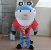 ingrosso costume di squalo blu-SX0728 Buona visione e buona ventilazione: costumi da mascotte squali blu e bianchi da indossare per gli adulti