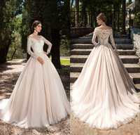 Wholesale Designer Style Long Sleeve Dresses - Vintage 2017 Lace Long Sleeves Wedding Dresses Bridal Gown Off the Shoulder Button Back Plus Size Countyr Style Wedding Gowns
