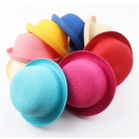 47547b28280 8 Solid Colors Summer Cute Children Straw Hat Outdoor Travel Beach Sun Hats  for Boys Girls Kids Dome Cap KIDS-10 Wholesale