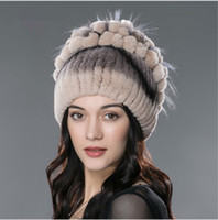 Wholesale Knit Flower Hat For Sale - 05Winter fur hat for women real rex rabbit furs hat with silver fox fur flower knitted beanie 2017 new sale high-end women fur cap