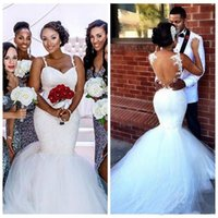 Wholesale Tulle Wedding Dress Online - 2017 White Spaghetti Black Girl Lace Appliques Mermaid Wedding Dresses See Through Bridal Gowns Custom Online Vestidos De Novia Lace