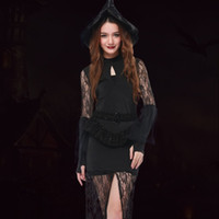 Wholesale Sexy Halloween Witch Hat - Gold Hands Fashion Sexy Women Girls Halloween Cosplay Dresses Witch High Split Lace Sexy Slim Costumes Black Dresses With Hat and Belt