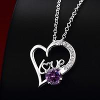 Wholesale purple gemstone pendant resale online - New arrival fashion heart shape silver Pendant Necklaces STPN022C best gift purple gemstone sterling silver jewelry necklace