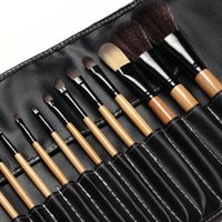 Wholesale hair tie set - Professional Makeup Brushes Set 18pcs Brushes In Black Leather Bag Like Ties Case Make Up Brushes Tools Big Deal !