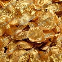 renkli çiçek yaprakları toptan satış-Sıcak Satmak 2000 Adet Altın Saten Gül Yapraklı Düğün Nişan Çiçek Dekorasyon Şekeri Yaprakları Düğün Malzemeleri Renk 15
