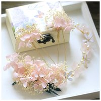 Wholesale Ivory Hair Pins - Pretty Pink Ivory Dried Flower Hair Pins Set Bridal Headband Handmade Wedding Tiara Accessories Hair Jewelry Women Headdress