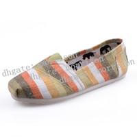Wholesale rainbow striped fabric - Women Colored stripes rainbow Canvas Shoes Jogging shoe Men Canvas Shoes Size 35-45
