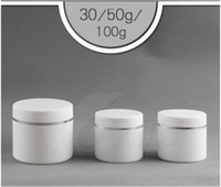Wholesale Empty Plastic Pots - 30g 50g 100g Plastic Facial Cream Jars gel cosmetic bottles Empty Plastic Jar Pot Containers PP grind arenaceous cream box