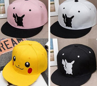 Wholesale Wholesale Trucker Hats Free Shipping - Poke Pikachu Hat Cap Baseball Caps Adult Mesh Hat Women Men Unisex Hip Hop Costume Cartoon Mesh Trucker Visor Snapbacks Hat Free Shipping