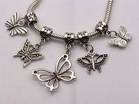 Wholesale Mix Dangle Beads - MIC17 pcs Antique silver mixed Butterfly Dangle Beads Fit European Charm Bracelet 17- style za382