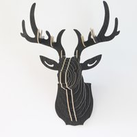 Wholesale Pen Stand Desk Holder - Wholesale-Hang Wall Deer head Wood DIY Pen Holder Pens stand Pencil Holders for Desk Large 2016 New Office Accessories Supplies Stationery