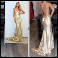 Wholesale Glitter Chiffon Prom Dress - Champagne Gold Mermaid Prom Dress 2016 Sparkle Long Glitter Prom Dresses Open Back Sexy Sequin Dress Backless