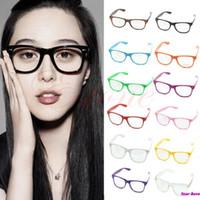 Wholesale Cool Nerd Glasses - Wholesale-Fashion Cool Unisex Clear Lens Nerd Geek Glasses Eyewear For Men Women