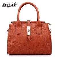 Wholesale Style Leather Bag - Crocodile Grain Women Leather Handbags Brand Design Lady Crossbody Bags European America Style Shoulder Messenger Bag Lock Bolsa