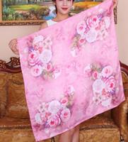 Wholesale White Silk Scarfs - New Arrival Fashion 90cm*90cm real silk square scarf female shawl women wrap