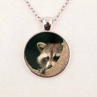 Wholesale raccoon animal - Raccoon Pendant Necklace Raccoon Jewelry Animal Picture Glass Cabochon Necklace Pendant
