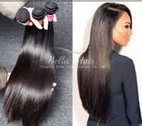 "Wholesale Cheap Hair Weave Free Shipping - Cheap Brazilian Hair 100% Virgin Unprocessed Hair Weaves Silky Straight Hair Extensions 7A Bellahair 8""-30"" 1or2or3or4PCS lot Free Shipping"