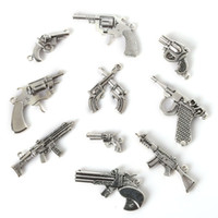 Wholesale Gun Pendant Charm - Free shipping New Mix 35pcs lot Vintage Charms Gun Pendant Antique Silver Fit Bracelets Necklace DIY Metal Jewelry Findings jewelry making