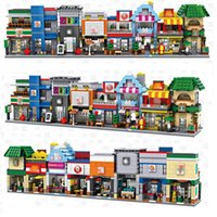 Wholesale Coffee Children - LOZ Mini Builidng Blocks Street Shop DIY Block Toys For Children Cute Micro Store coffee Model Kids Christmas Gifts Bricks 8pcs lot