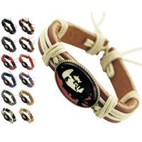 Wholesale surfer leather bracelet wristband - Che Guevara Genuine Leather Bracelet Adjustable Black Brown Chain Wholesale Lots Fashion Surfer Men Women Handmade Wristband Bangle (DJ395)