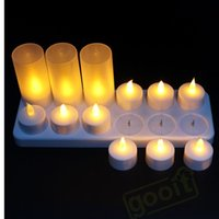 Wholesale Led Plastic Candle Tea Light - 12 LED Night Rechargeable Flameless Tea Light Candle For Xmas Party Electronic Candle Lamps