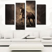 painting realism - 4 Picture Combination Canvas Mural Realism Art Canvas Paintings Decoration Brown Horse Painting For Home Decor