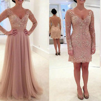 Wholesale beaded chiffon detachable skirt dress - Dusty Pink Two Pieces Prom Dresses Over Skirts V Neck Lace Appliques Beaded Long Sleeves Hollow Back Detachable Skirt Evening Gowns