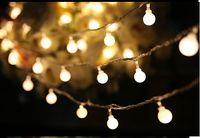 Wholesale Tail Plug For String Lights - 20m 200 Matte Ball Warm White LED String Wedding Party Fairy Christmas Light for home decor lamp 110v-220v EU plug with tail plug
