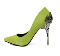 ayakkabı oyulmuş topuklu ayakkabı toptan satış-Moda Seksi Kadın Oyma Metal Ince Yüksek topuklu Kadın Pompaları Süet Sığ Ağız Sivri Düğün Whoes Yüksek topuklu Topuklu ayakkabı ücretsiz kargo