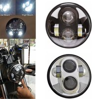 "Wholesale Eyes Bobs - 5.75"" Motorcycle H4 Hi Lo Beam 5 3 4"" LED Headlight with Angel eyes Halo Ring for Harley Sportster Iron Dyna Street Bob FXDB 883"