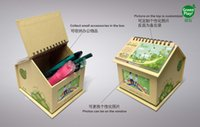 Wholesale Wholesale Make Up Supplies - Kraft paper desk organizer with green design printed office supplies storage boxes make your desk on the office and room tidy up