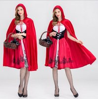 Wholesale sexy little red riding - Dreamgirl Women's Little Red Riding Hood Costume Halloween Cosplay Costume Adult Sexy Women little Red Riding Hat