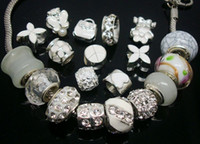 Wholesale European Big Hole Beads - 50pcs Lot mixed White Charms Beads for Jewelry Making Big Hole Charms DIY Beads for European Bracelets Wholesale in Bulk Low Price
