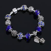 Wholesale Silver Pendant Bracelets - 6colors 925 Sterling Silver Snake Chain Fit Murano Glass&Crystal European Charm Beads Charm bracelets With Heart Crown Pendant