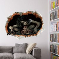 Wholesale Wholesale Sticker Manufacturers - Manufacturers wholesale Halloween decorations Sitting room adornment bedroom Female the ghost wall broken wall stickers Waterproof can remov