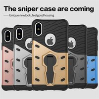 Wholesale Armor Hybrid Shock Proof - 360 Degree Rotary Armor Case TPU+PC hybrid Cases Shock-proof Stand Holder Cover Kickstand For iPhone 7 6 Plus Samsung S7 Edge S8 Plus