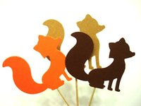 Wholesale Cheap Baby Decorations - cheap Orange, Kraft & Brown MIX 'FOX' cupcake toppers inserts cards food picks wedding baby bridal shower Cake Accessories decorations