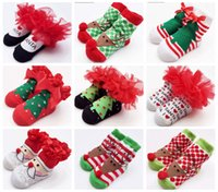 Wholesale Infant Socks Cotton Lace - 2016 Baby Socks New Born Christmas Gift Tulle Bow Lace Santa Holiday Birthday Gift for Infant Boys Girls Ruffle socks 0-12 Months