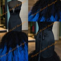 Wholesale Satin Mermaid Lace Up Back - 2017 Fab Ombre Prom Dresses with Spaghetti Neckline and Lace Up Back Real Photos Tiered Tulle & Satin Mermaid Blue and Black Evening Gowns