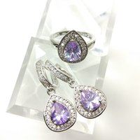Wholesale pearl earring necklace box - The new jewelry set for women's 925 stylish purple Earrings Ring Size 789 free jewelry boxes B