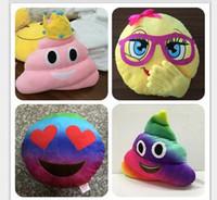 Wholesale Cartoon Poop - New 35cm emoji plush toys Pillow Cushion cartoon Poop Stuffed Animals Pillows dolls crown pink rainbow color